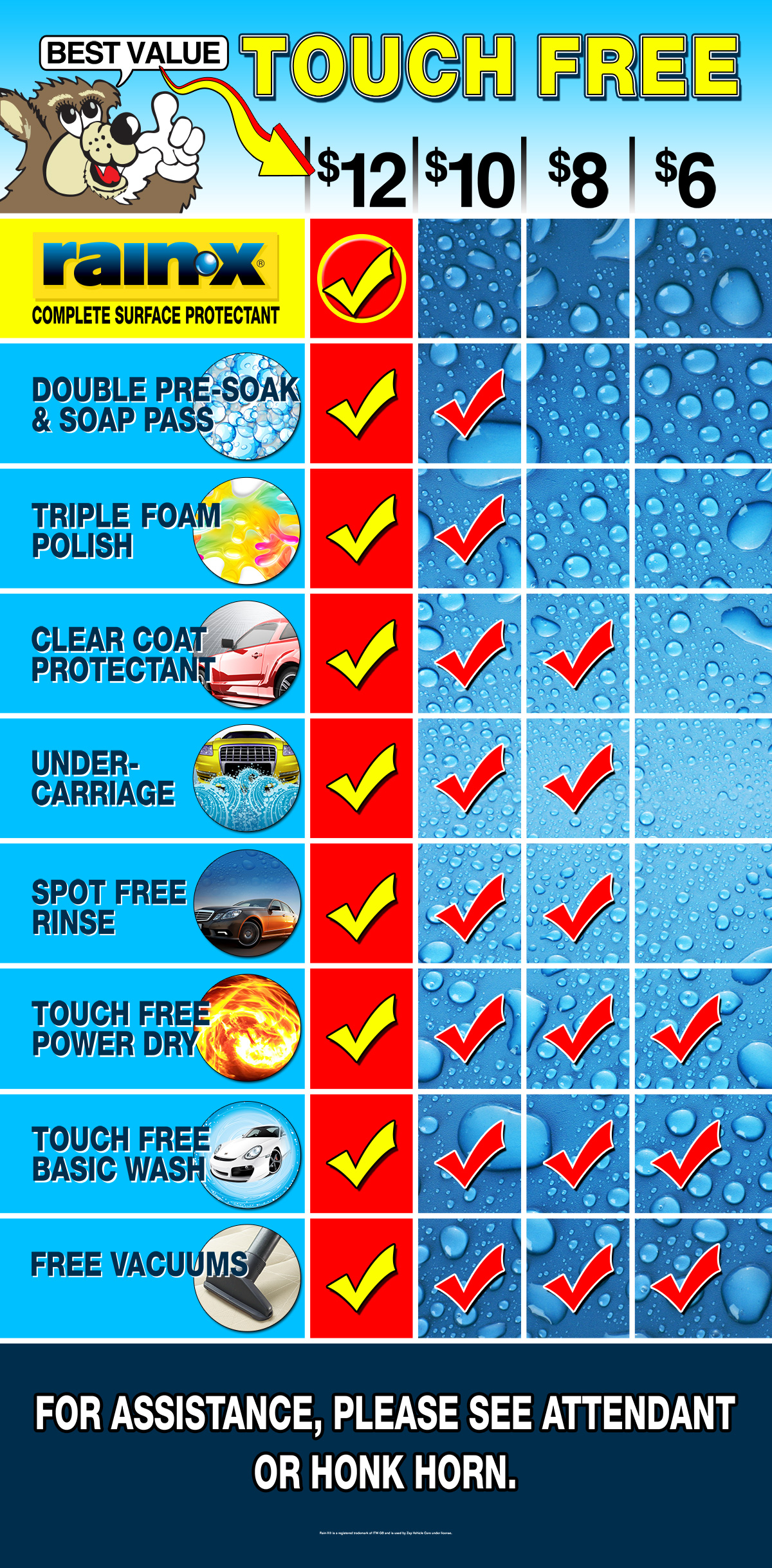 Bear, DE Touch Free Car Wash Menu